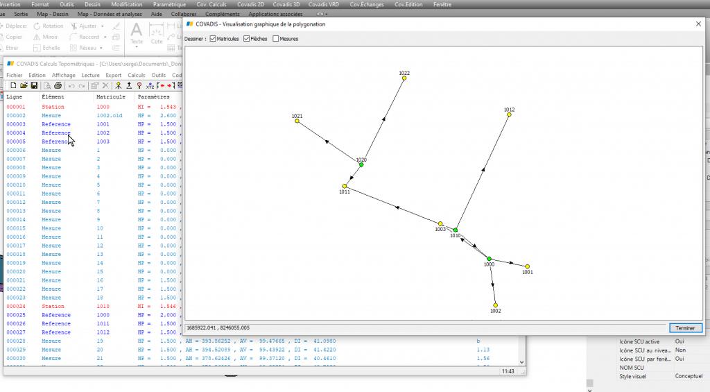 Calcul d'une polygonale avec Covadis