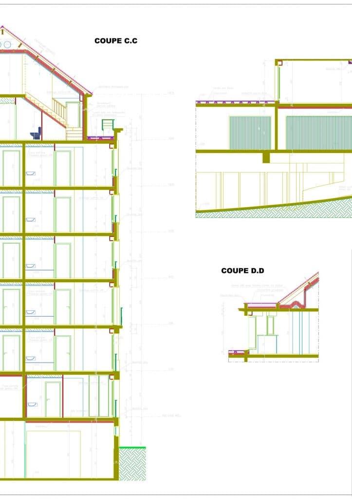 Plan de coupe d'un bâtiment